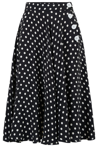 "The Seamstress Of Bloomsbury ""Isabelle"" Skirt in Black Polka Dot, Classic & Authentic 1940s Vintage Inspired Style - RocknRomance Clothing"