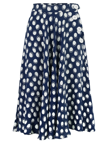 """Isabelle"" Skirt in Navy Moonshine Spot, Classic & Authentic 1940s Vintage Inspired Style"