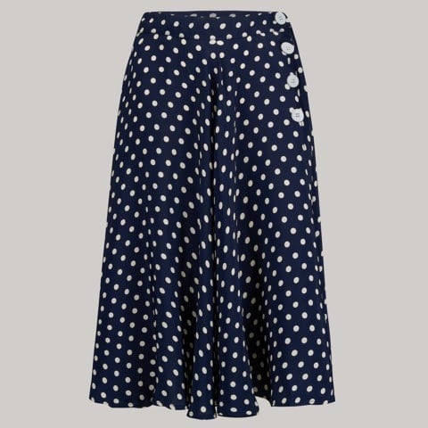 "The Seamstress Of Bloomsbury ""Isabelle"" Skirt in Navy with white polka, Classic & Authentic 1940s Vintage Inspired Style - RocknRomance Clothing"