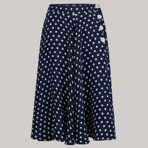 """Isabelle"" Skirt in Navy with white polka, Classic & Authentic 1940s Vintage Inspired Style - RocknRomance True 1940s & 1950s Vintage Style"