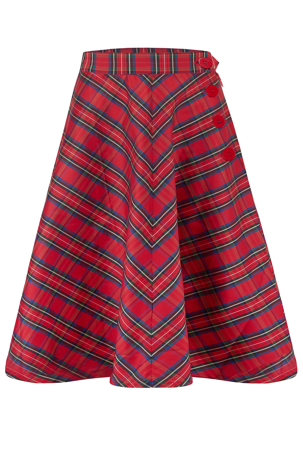 """Isabelle"" Skirt in Red Taffeta Tartan, Classic & Authentic 1940s Vintage Inspired Style Seamstress of Bloomsbury"