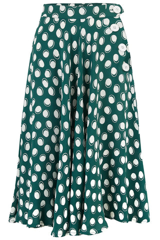 """Isabelle"" Skirt in Green Moonshine Spot, Classic & Authentic 1940s Vintage Inspired Style"