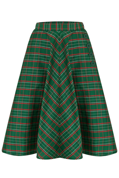 "The Seamstress Of Bloomsbury ""Isabelle"" Skirt in Green Taffeta Tartan, Classic & Authentic 1940s Vintage Inspired Style - RocknRomance Clothing"