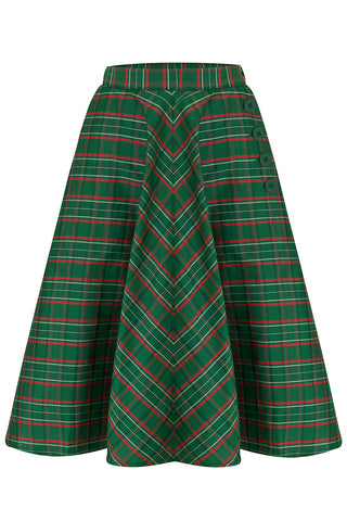 """Isabelle"" Skirt in Green Taffeta Tartan, Classic & Authentic 1940s Vintage Inspired Style"