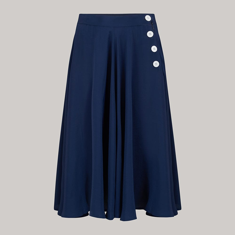 "The Seamstress Of Bloomsbury ""Isabelle"" Skirt in solid Navy with white buttons, Classic & Authentic 1940s Vintage Inspired Style - RocknRomance Clothing"