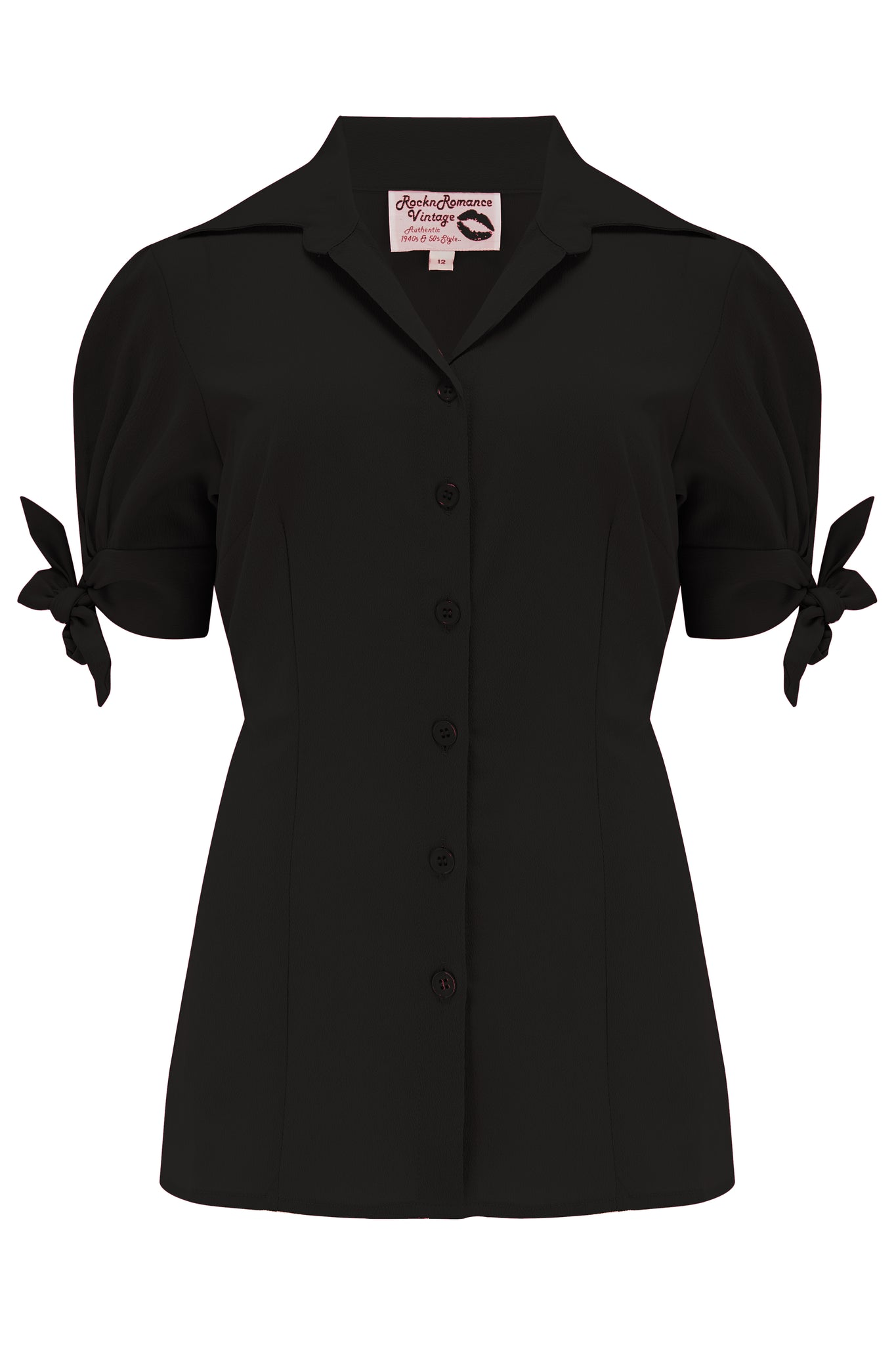 "Pre-Order.. The ""Jane"" Blouse in Solid Black, True & Authentic 1950s Vintage Style - RocknRomance True 1940s & 1950s Vintage Style"