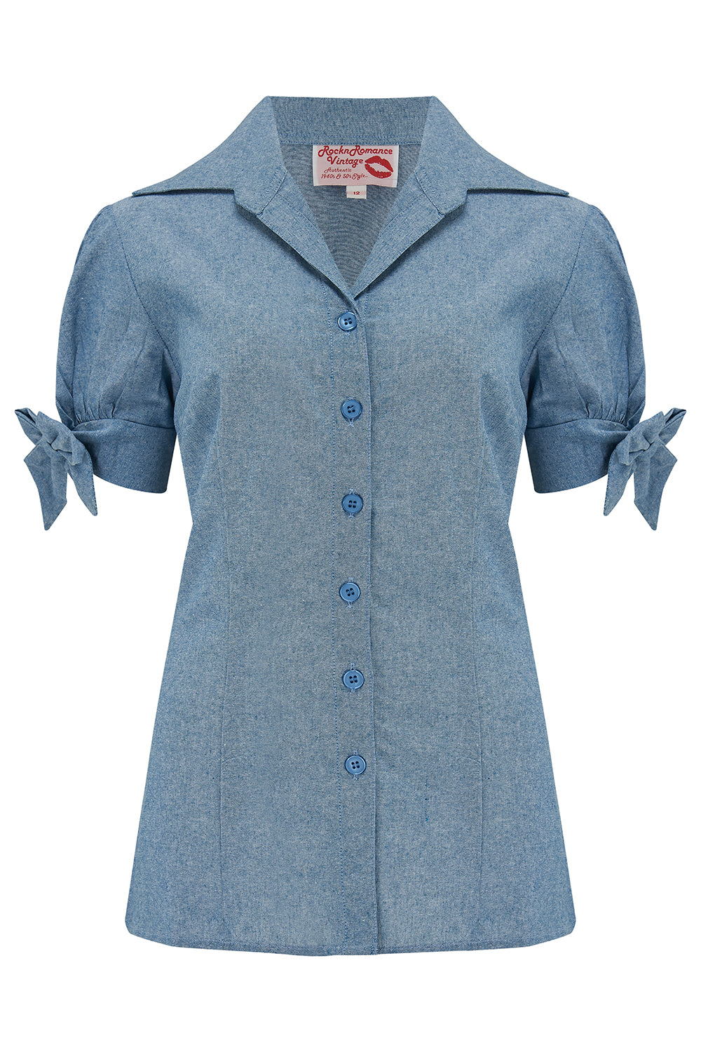 "Pre-Order.. The ""Jane"" Blouse in Lightweight Blue Denim, Cotton Chambray, True & Authentic 1950s Vintage Style - RocknRomance True 1940s & 1950s Vintage Style"