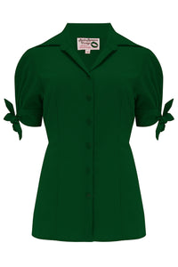 "Pre-Order.. The ""Jane"" Blouse in Solid Green, True & Authentic 1950s Vintage Style - RocknRomance True 1940s & 1950s Vintage Style"