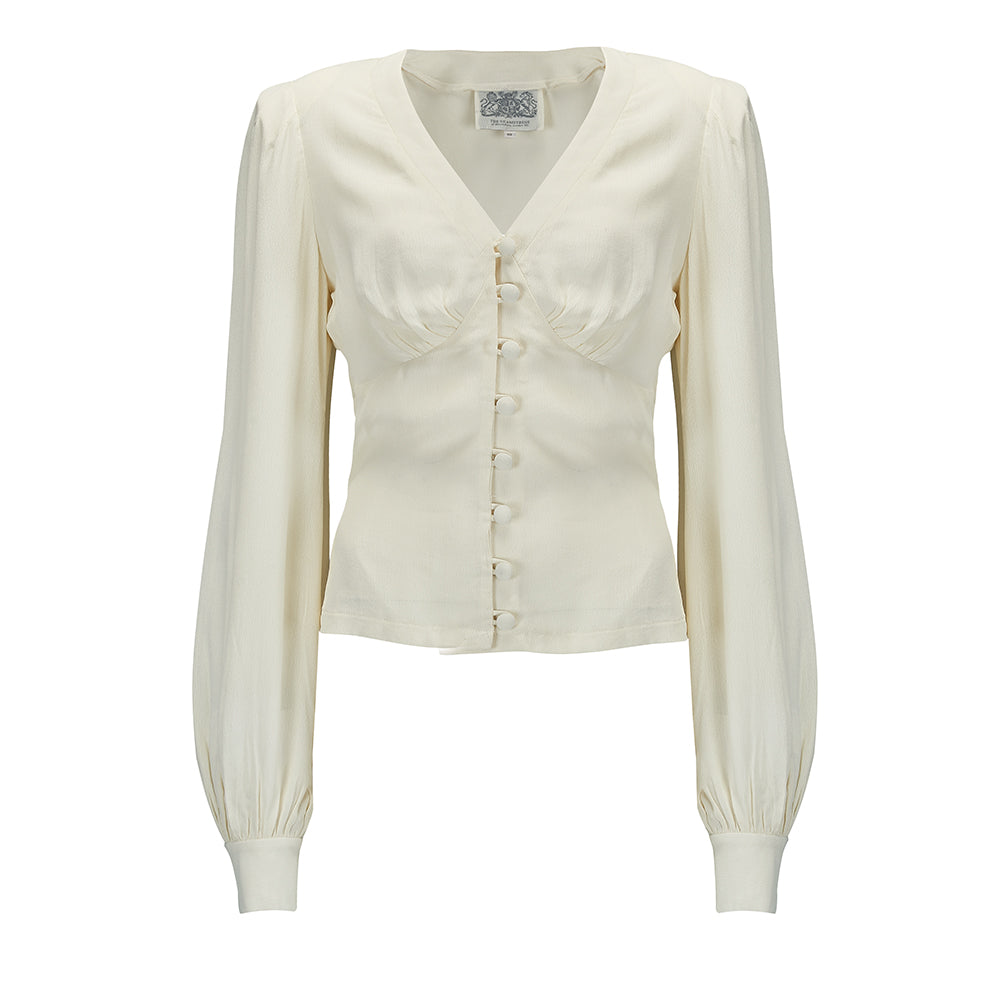 1940s Blouses, Tops, Shirts, Knitwear Jay Long Sleeve Blouse in Cream Classic 1940s Vintage Inspired Style £45.00 AT vintagedancer.com
