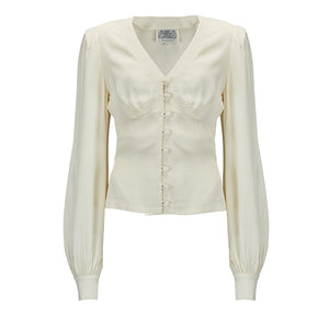 """Jay"" Long Sleeve Blouse in Cream, Classic 1940s Vintage Inspired Style - RocknRomance True 1940s & 1950s Vintage Style"