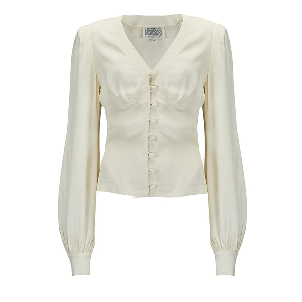 "Seamstress Of Bloomsbury ""Jay"" Long Sleeve Blouse in Cream, Classic 1940s Vintage Inspired Style"