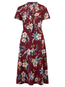 """Jean"" Tea Dress in Wine Hawaiian Print, Perfect 1950s Tiki Style"
