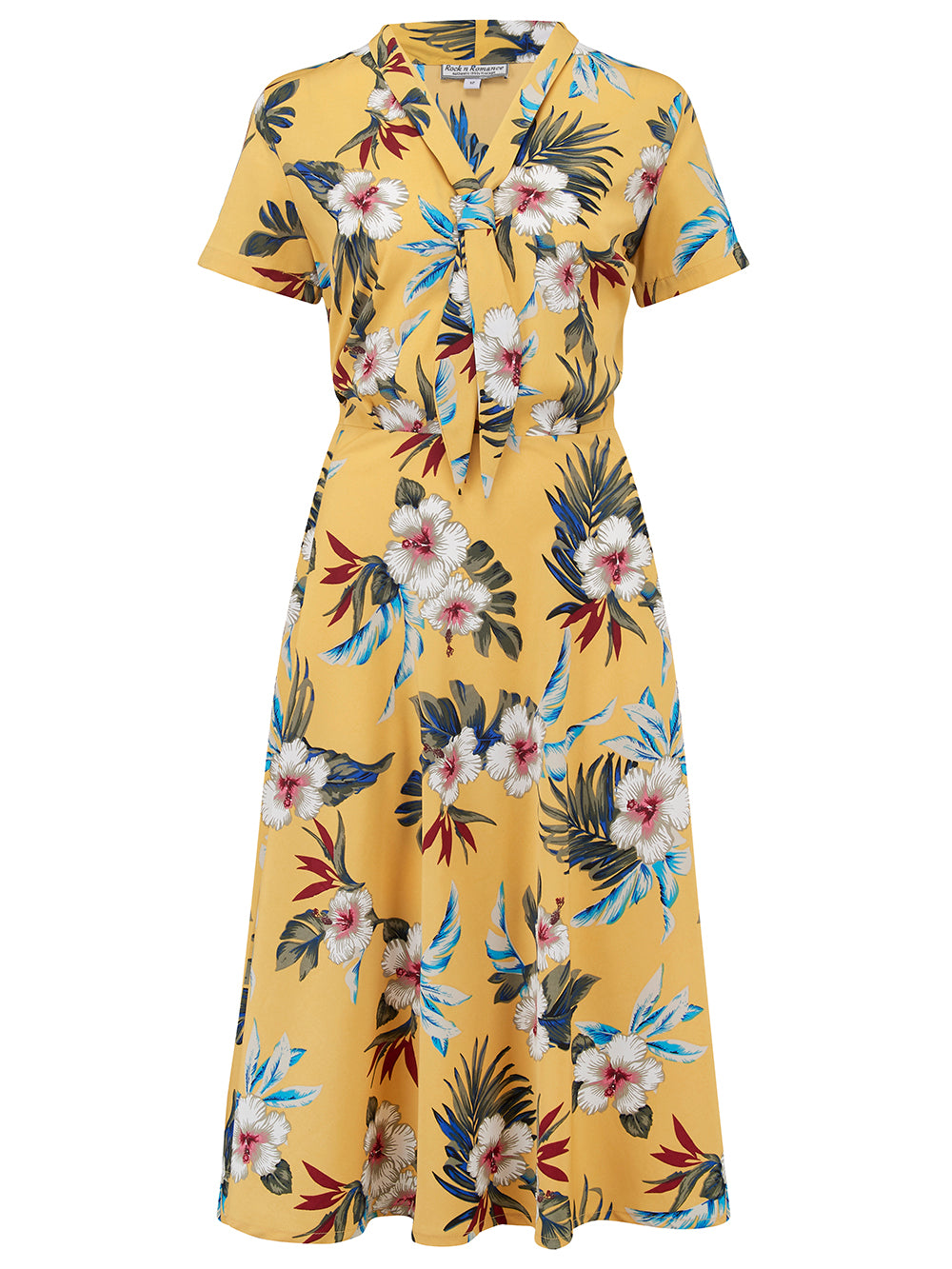 """Jean"" Tea Dress in Mustard Hawaiian Print, Authentic 1950s Vintage Pin Up & Rockabilly Style"