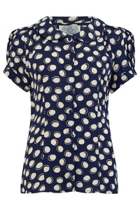 Jive Blouse in Navy Blue Moonshine 1940's Inspired Reproduction Clothing The Seamstress of Bloomsbury