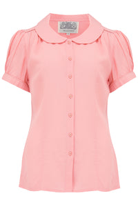 """Jive"" Blouse in Rose Quartz, Classic 1940s Vintage Inspired Style - RocknRomance True 1940s & 1950s Vintage Style"