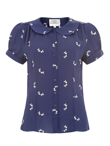 """Jive"" Short Sleeve Blouse in Navy Blue with Doggy Print, Classic 1940s Vintage Style - RocknRomance True 1940s & 1950s Vintage Style"