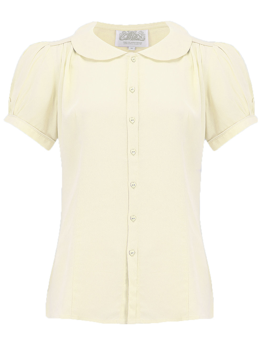 "The Seamstress Of Bloomsbury ""Jive"" Short Sleeve Blouse in Cream, Classic 1940s Vintage Inspired Style - RocknRomance Clothing"