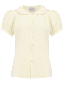"""Jive"" Short Sleeve Blouse in Cream, Classic 1940s Vintage Inspired Style"