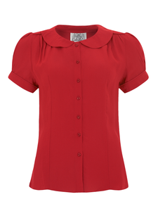 "The Seamstress Of Bloomsbury ""Jive"" Short Sleeve Blouse in Red, Classic 1940s Vintage Inspired Style - RocknRomance Clothing"