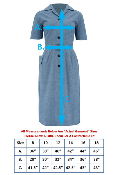 "Pre-Order.. The ""Josie"" Dress in Lightweight Denim Blue Cotton Chambray, True & Authentic 1950s Vintage Style - RocknRomance True 1940s & 1950s Vintage Style"