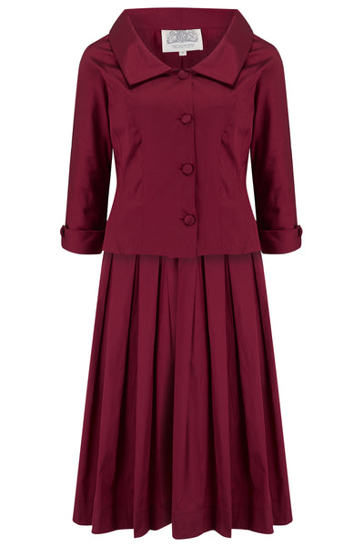"The Seamstress Of Bloomsbury ""Josie"" Ladies Dress & Jacket 2pc Suit set in Burgundy, Authentic 1940s Vintage Style - RocknRomance Clothing"