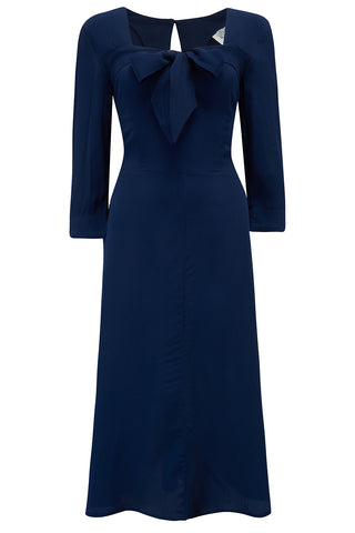 The Seamstress Of Bloomsbury Joyce 1940s Day Dress in Navy Blue, Authentic true vintage style - RocknRomance Clothing