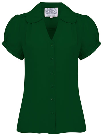 """Judy"" Blouse in Green, Classic 1940s Vintage Style - RocknRomance True 1940s & 1950s Vintage Style"
