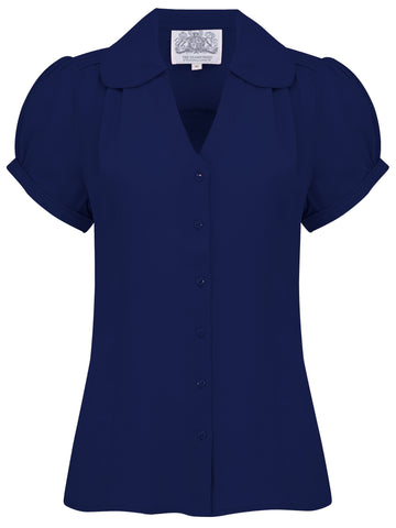 """Judy"" Blouse in Navy, Classic 1940s Vintage Style - RocknRomance True 1940s & 1950s Vintage Style"