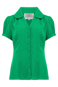 """Judy"" Blouse in Apple Green, Classic & Authentic 1940s Vintage Inspired Style - RocknRomance True 1940s & 1950s Vintage Style"