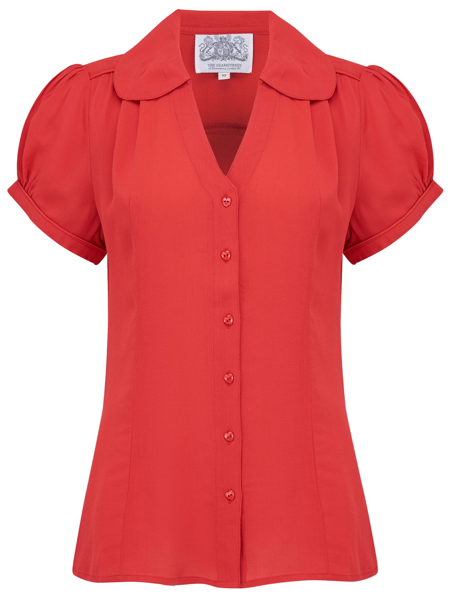 "The Seamstress Of Bloomsbury ""Judy"" Blouse in Red, Classic & Authentic 1940s Vintage Inspired Style - RocknRomance Clothing"