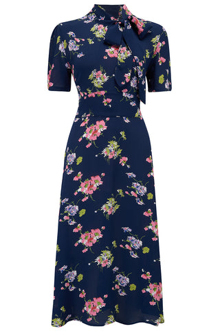 Kathy Dress in Navy Mayflower , A Classic 1940s Inspired sophisticated, True Vintage Style - RocknRomance True 1940s & 1950s Vintage Style