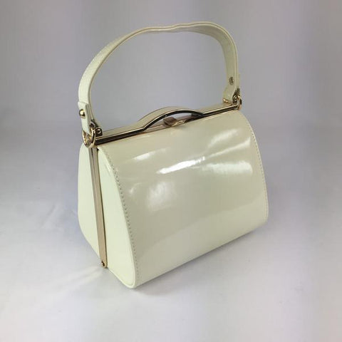 Classic Bags In Bloom Vintage Inspired Kelly Hand Bag In plain cream - RocknRomance Clothing