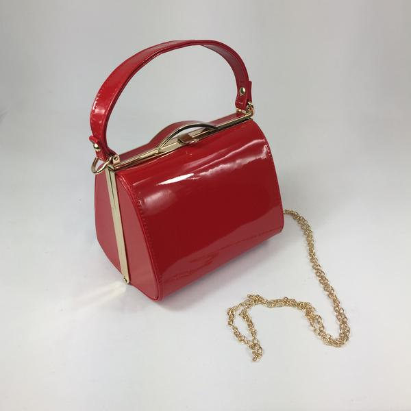 Vintage Inspired Kelly Hand Bag In classic Red - RocknRomance True 1940s & 1950s Vintage Style
