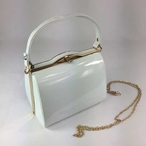 Classic Bags In Bloom Vintage Inspired Kelly Hand Bag In Pure White - RocknRomance Clothing