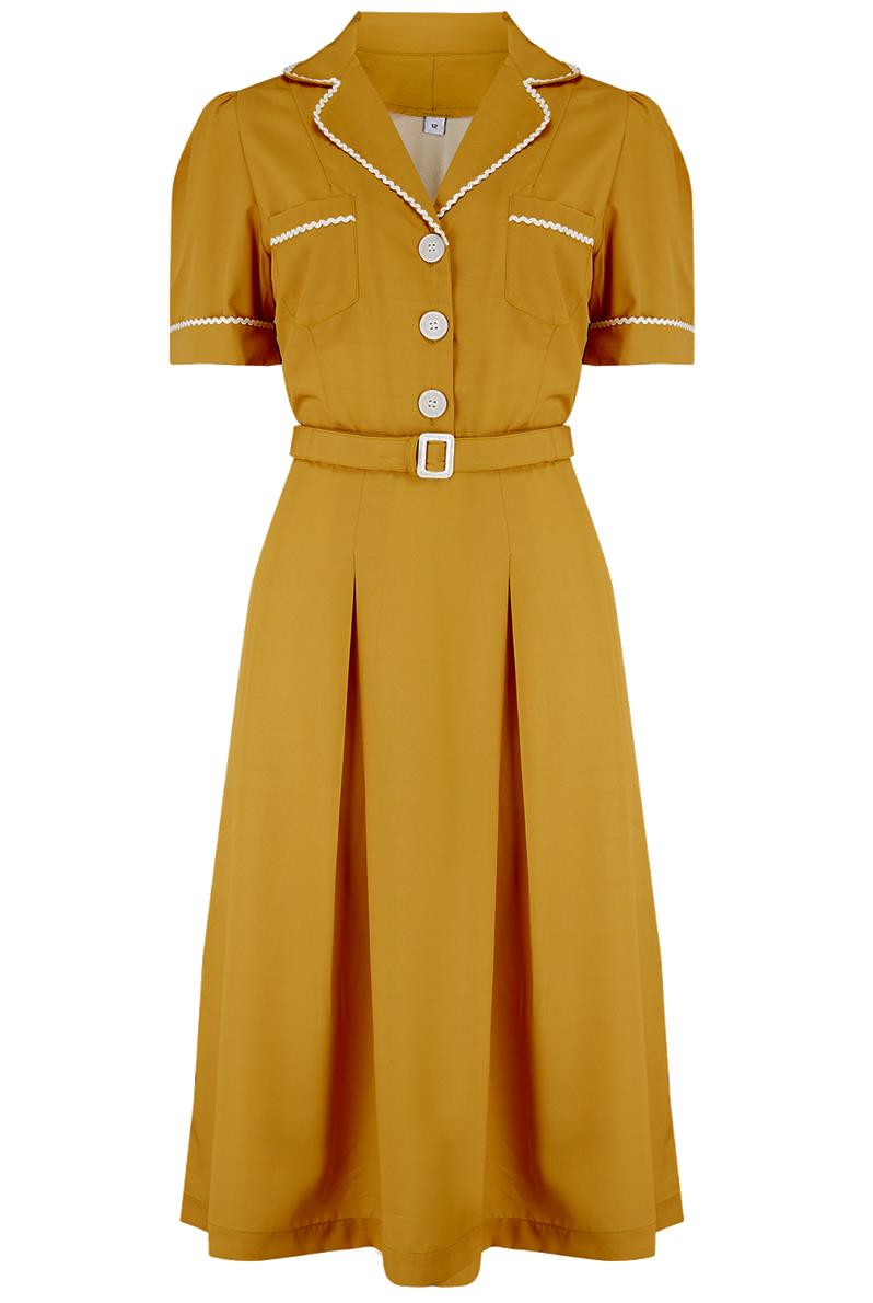 Vintage Shirtwaist Dress History Pre-Order The Kitty Shirtwaister Dress in Mustard with Contrast Ric-Rac True Late 40s Early 1950s Vintage Style £49.00 AT vintagedancer.com