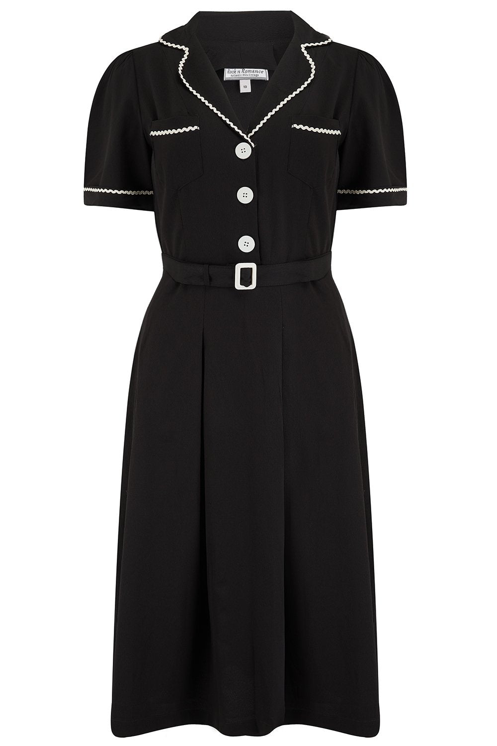 Vintage Shirtwaist Dress History Pre-Order The Kitty Shirtwaister Dress in Black with Contrast Ric-Rac True Late 40s Early 1950s Vintage Style £49.00 AT vintagedancer.com