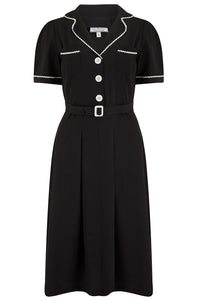 "Rock n Romance The ""Kitty"" Shirtwaister Dress in Black with Contrast Ric-Rac, True Late 40s Early 1950s Vintage Style - RocknRomance Clothing"