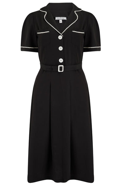 "Rock n Romance ""Kitty"" Shirtwaister Dress in Black with Contrast Ric-Rac, Authentic Early 1950s Style - RocknRomance Clothing"