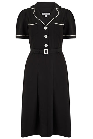 "Rock n Romance **Pre-Order** The ""Kitty"" Shirtwaister Dress in Black with Contrast Ric-Rac, True Late 40s Early 1950s Vintage Style - RocknRomance Clothing"