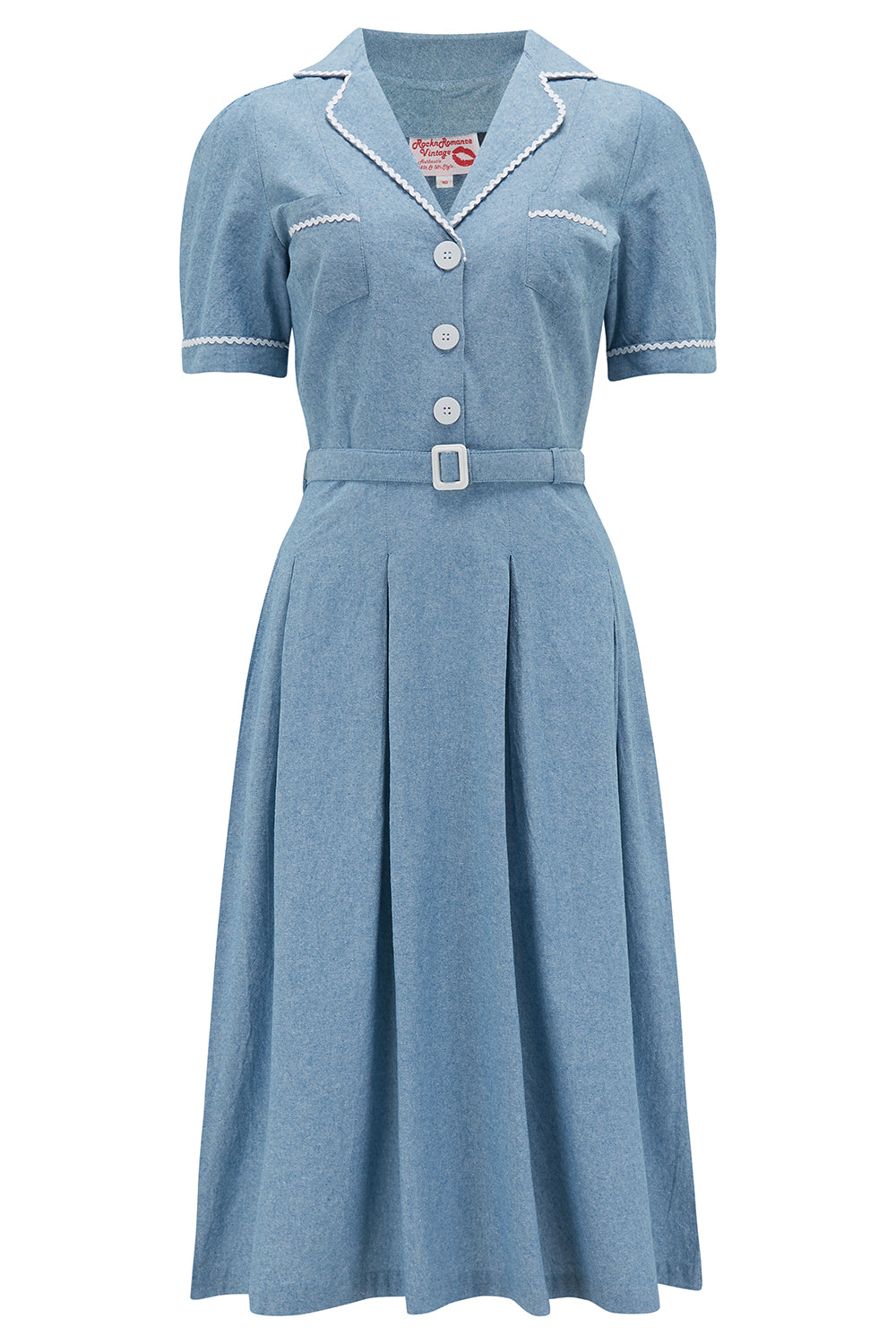 Pin Up Girl Costumes | Pin Up Costumes The Kitty Shirtwaister Dress in Lightweight Denim Cotton Chambray with Contrast Ric-Rac True Late 40s Early 1950s Vintage Style £49.00 AT vintagedancer.com