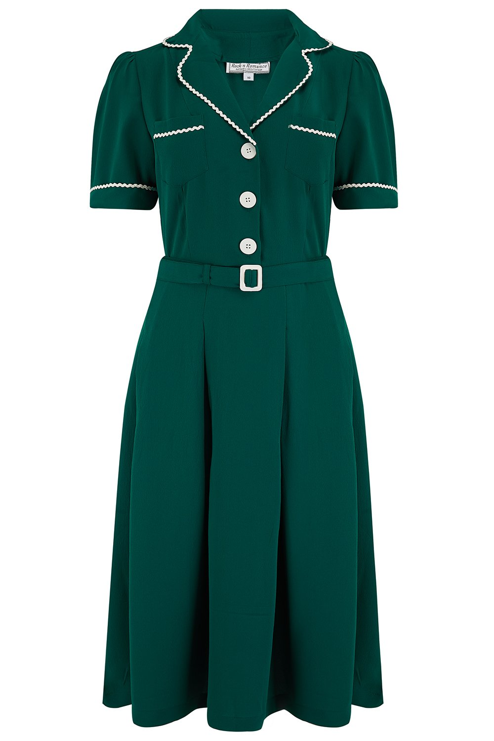 "The ""Kitty"" Shirtwaister Dress in Green with Contrast Ric-Rac, True Late 40s Early 1950s Vintage Style - RocknRomance True 1940s & 1950s Vintage Style"