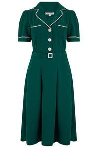 "Rock n Romance **Pre-Order** The ""Kitty"" Shirtwaister Dress in Green with Contrast Ric-Rac, True Late 40s Early 1950s Vintage Style - RocknRomance Clothing"