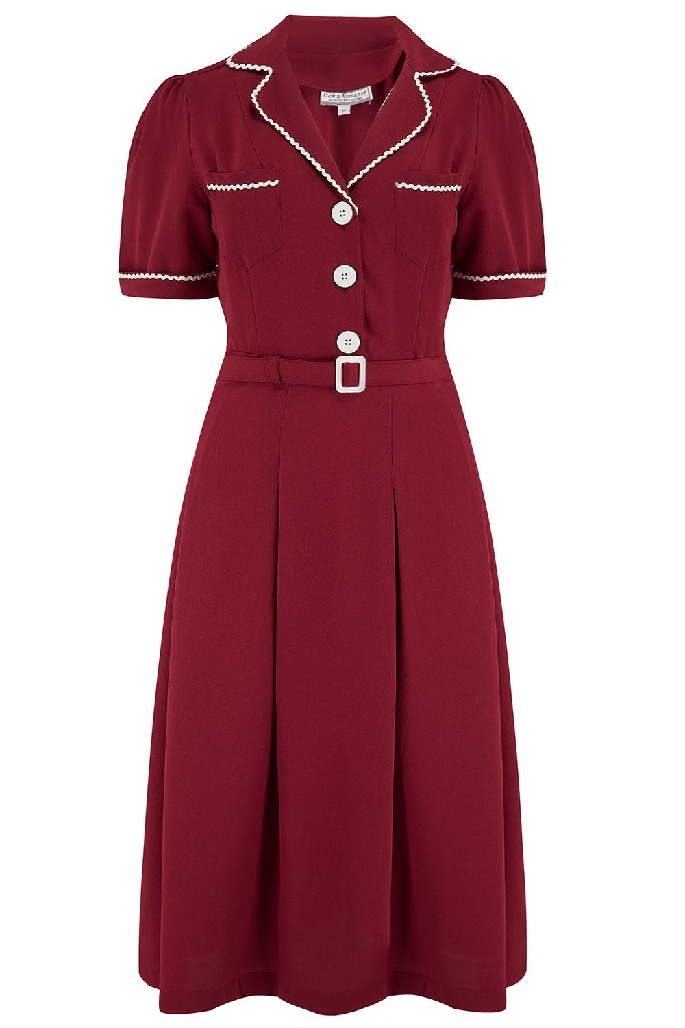 Vintage Shirtwaist Dress History Pre-Order The Kitty Shirtwaister Dress in Wine with Contrast Ric-Rac True Late 40s Early 1950s Vintage Style £49.00 AT vintagedancer.com
