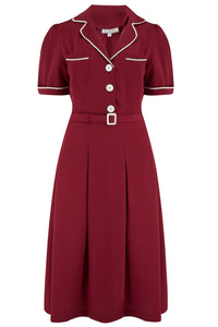 "Rock n Romance ""Kitty"" Shirtwaister Dress in Wine with Contrast Ric-Rac, Authentic Early 1950s Style - RocknRomance Clothing"