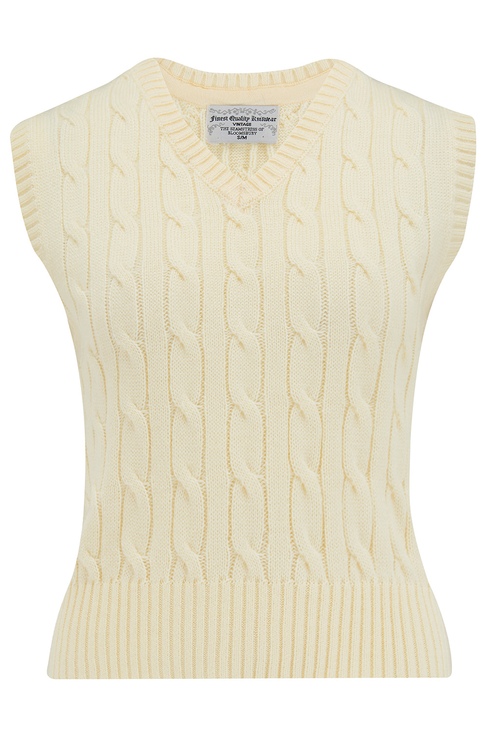Cable Knit Slipover in Cream, Stunning 1940s True Vintage Style - RocknRomance True 1940s & 1950s Vintage Style