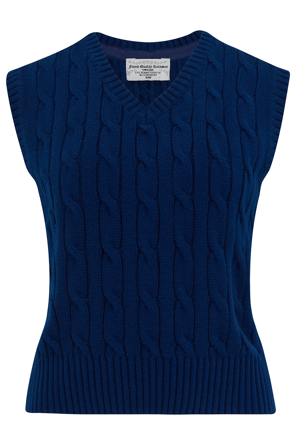 Cable Knit Slipover in French Navy, Stunning 1940s True Vintage Style - RocknRomance True 1940s & 1950s Vintage Style