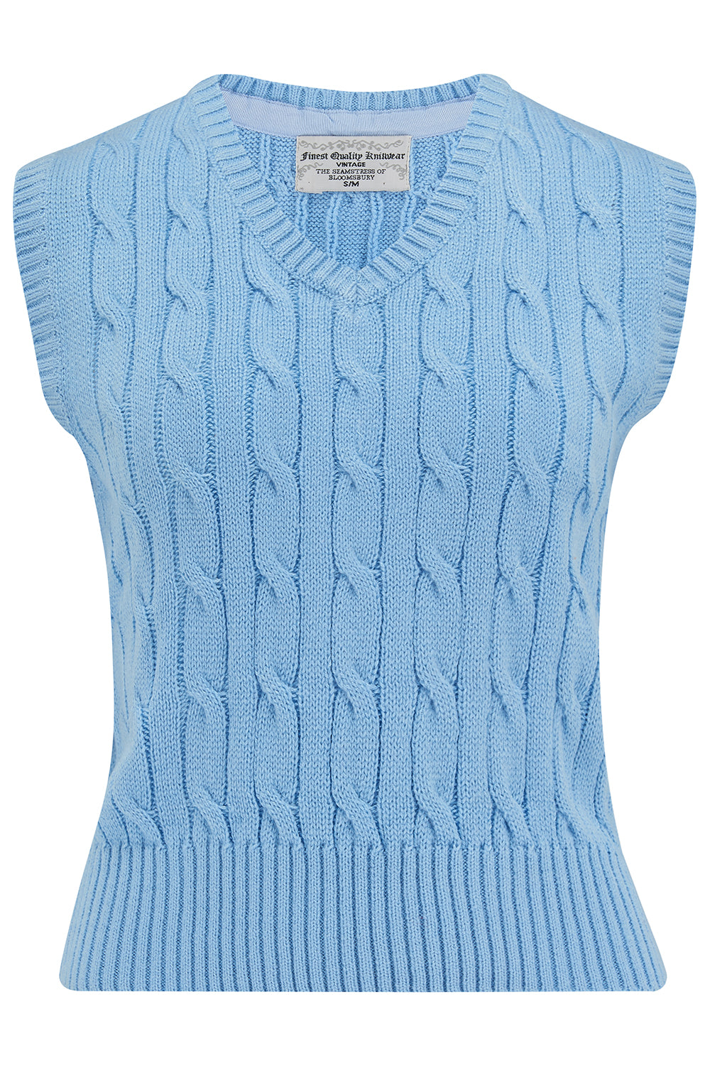 Vintage Sweaters & Cardigans: 1940s, 1950s, 1960s Cable Knit Slipover in Sky Blue Stunning 1940s True Vintage Style £29.00 AT vintagedancer.com