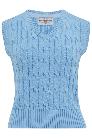 Cable Knit Slipover in Sky Blue, Stunning 1940s True Vintage Style - RocknRomance True 1940s & 1950s Vintage Style
