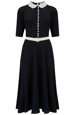 "The Seamstress Of Bloomsbury ""Lace Collar "" Dress in Black with Contrast Lace Collar, Classic 1940s True Vintage Style - RocknRomance Clothing"