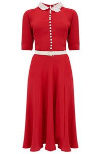 "The Seamstress Of Bloomsbury ""Lace Collar "" Dress in Red with Contrast Lace Collar, Classic 1940s True Vintage Style - RocknRomance Clothing"